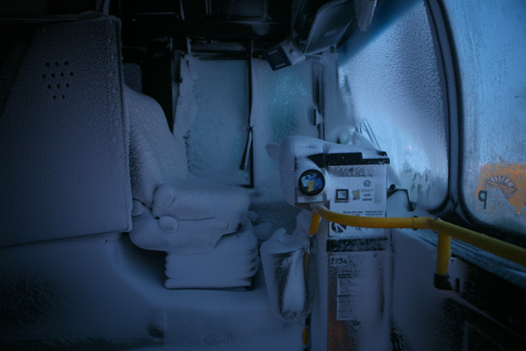 Snow Interior of Abandoned Bus